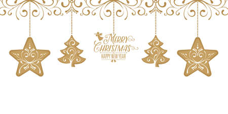 Golden Christmas Card with Greetings decoration card element background