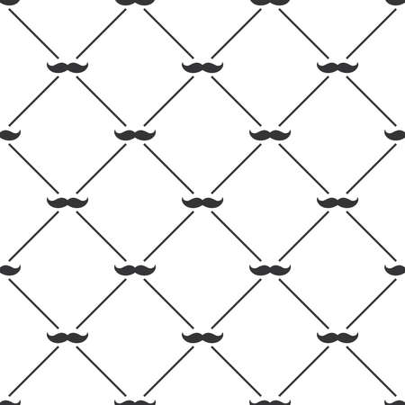 Seamless pattern background with mustached isolated white background
