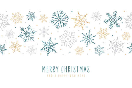 Christmas snowflakes elements ornaments decoration greeting card on isolated white background