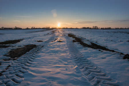 Wheel tracks on a snowy dirt road, horizon and sunset - winter view