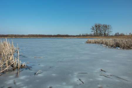 Lago congelado Stankow en el este de Polonia - vista en día de invierno