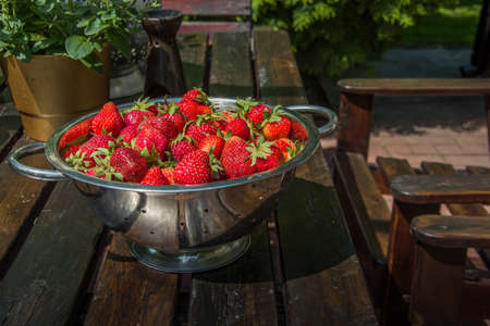Fresh red strawberries with green peduncle collected in a colander standing on a wooden table