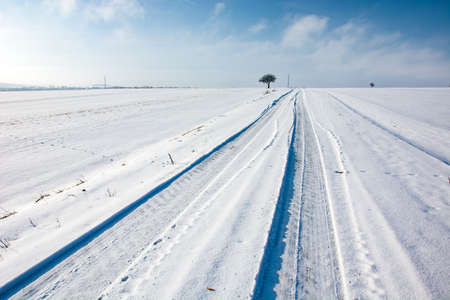 Tire tracks on snow covered road, winter view, eastern Poland