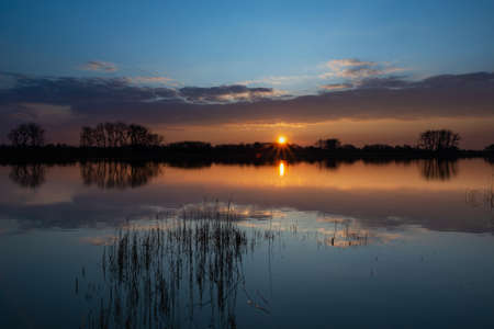 Beautiful sunset over a calm lake with reeds, the evening cloud reflecting in the water