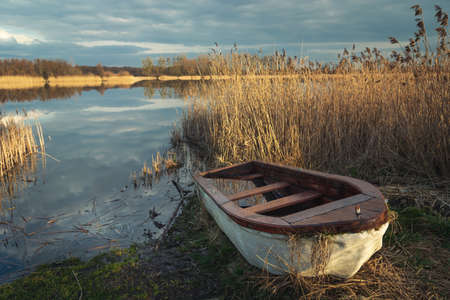 A small boat in reeds on the shore of a lake, spring day view Banque d'images