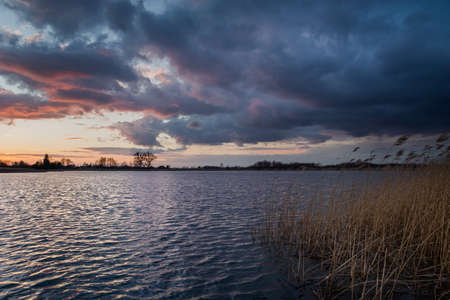 Dark clouds by the lake with reeds, evening view