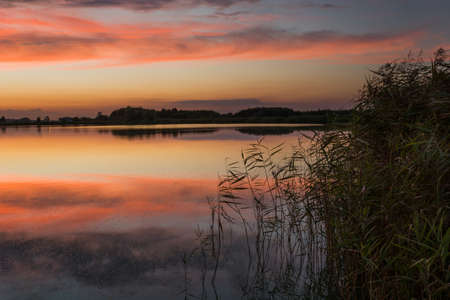 Colorful clouds, mirror image in a lake with reeds, summer evening view, Stankow, eastern Poland