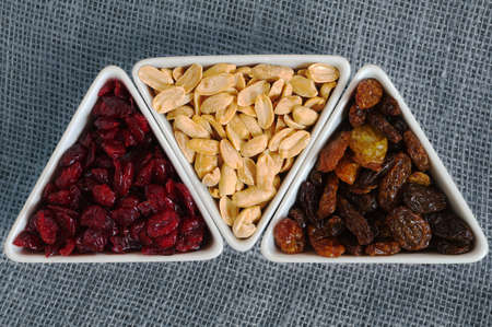 goober peas: Dried cranberries, raisins and peanuts Stock Photo