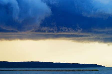 Stormy clouds over the Vistula Lagoon. Frombork, Poland. Stock Photo
