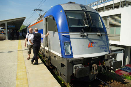 intercity: Warsaw, Poland - May 1, 2014 : The PKP Intercity express train standing at Warsaw East rail station.