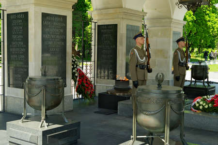tomb of the unknown soldier: Warsaw, Poland - May 5, 2014 : Honor guard held at the Tomb of the Unknown Soldier in Warsaw.