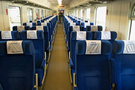 intercity: Warsaw, Poland - May 1, 2014 : Interior of the second class single compartment car of the PKP Intercity express train. Editorial