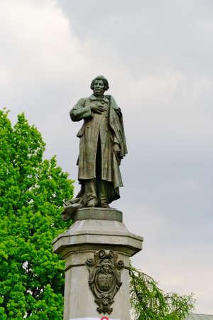 mickiewicz: Warsaw, Poland - May 4, 2014 : Monument to Adam Mickiewicz, famous Polish romantic poet. Editorial