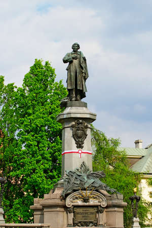 dramatist: Warsaw, Poland - May 4, 2014 : Monument to Adam Mickiewicz, famous Polish romantic poet. Editorial