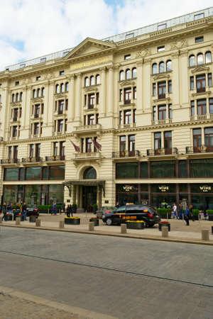 krakowskie przedmiescie: Warsaw, Poland - May 4, 2014 : Luxury Bristol Hotel on Krakowskie Przedmiescie street in Warsaw. Editorial