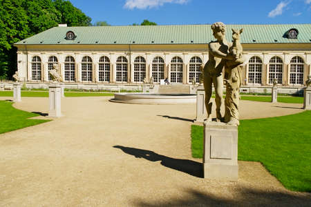 pilasters: Warsaw, Poland - May 5, 2014 : The Old Orangery building in Warsaw Royal Baths Park. Editorial