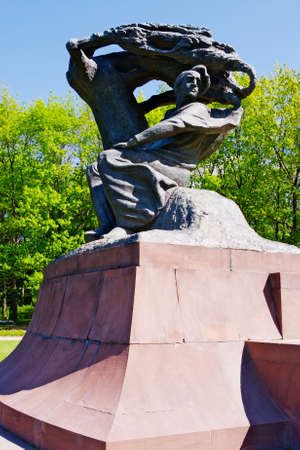 fryderyk chopin: Warsaw, Poland - May 5, 2014 : Monument to Fryderyk Chopin in Warsaw Royal Baths Park. Editorial