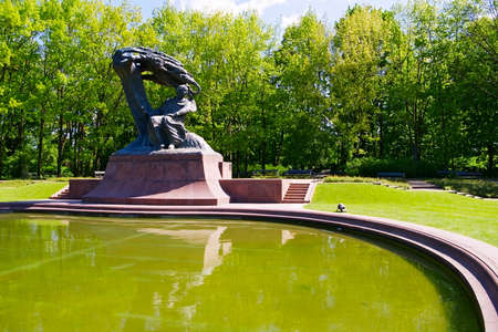 chopin heritage: Warsaw, Poland - May 5, 2014 : Monument to Fryderyk Chopin in Warsaw Royal Baths Park. Editorial