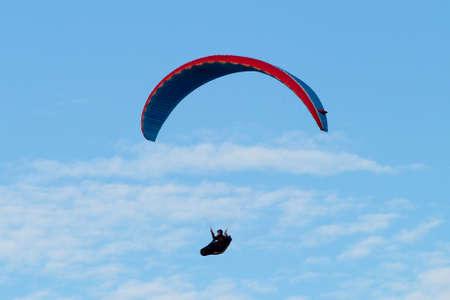 paraglider: Stegna, Poland - June 20, 2014: Paraglider flying alongside the Baltic coastline.