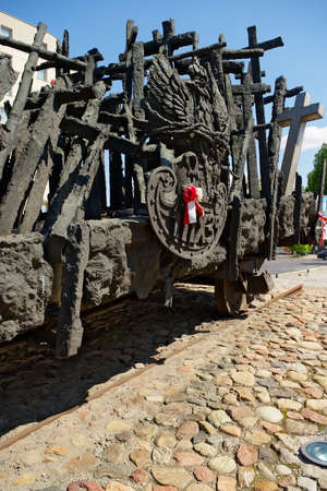 flatcar: Warsaw, Poland - May 6, 2014 : Monument to the Fallen and Murdered in the East in Warsaw. The monument commemorates the victims of Soviet aggression of Poland during World War II. Editorial