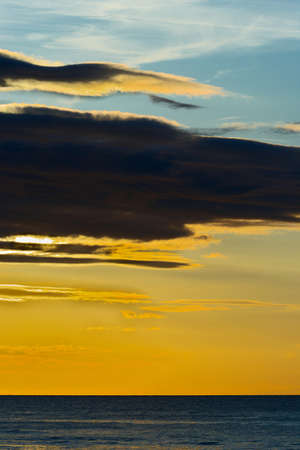 stratus: Dramatic stratus cloud formations at sunset over the Baltic sea. Gdansk Bay, Pomerania, northern Poland.