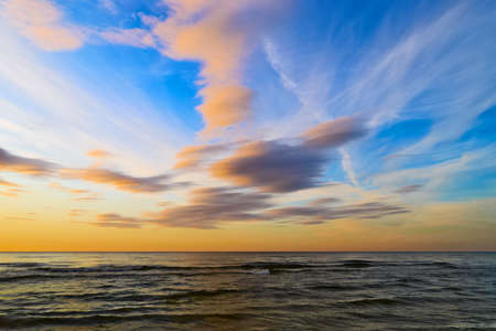 stratus: Stunning stratus cloud formations at sunset over the Baltic sea. Gdansk Bay, Pomerania, northern Poland.