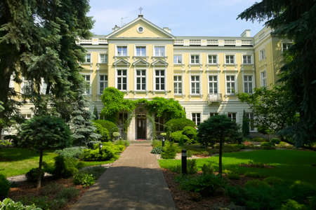 Borch Palace - House of the Archbishops of Warsaw on May 25, 2014 in Warsaw, Poland. View from the garden.