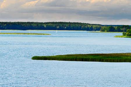 Aerial vast landscape with Rajgrodzkie Lake. Rajgrod, Podlasie region, north-eastern Poland.
