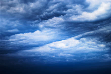 Cloudscape with dark, dramatic, stormy clouds. Nimbostratus cloud formation.