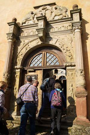 Grodno Castle on September 6, 2017 in Zagorze Slaskie, Poland. Renaissance entrance portal to the Upper Castle. Imagens - 102535301