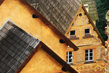 Grodno Castle on September 6, 2017 in Zagorze Slaskie, Poland. Pitched roof of gatehouse building built in 16th century with precious sgraffito on walls. Aerial view. Editorial