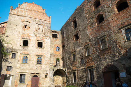 Grodno Castle on September 6, 2017 in Zagorze Slaskie, Poland. Ruins of the medieval castle stone walls against blue sky. Editorial