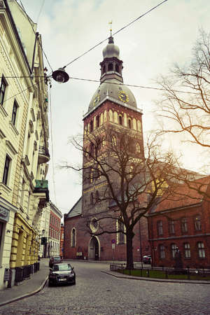 Riga, Latvia. Evangelical Lutheran cathedral, Rigas Doms, on April 2, 2017 in Riga.