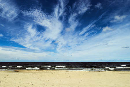 Landscape with stratocumulus clouds over the Baltic sea. Stegna, Pomerania, Poland.