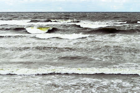 Stormy seascape. Rough waves of Baltic sea, Gdansk bay.