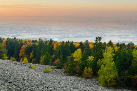 Forest in autumn colors growing on a stony hillside of Lysa Gora (Bald Mountain). Scenic landscape of the Swietokrzyskie Mountains, Poland.