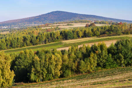 Rural landscape with the view of Lysica mountain peak. Reklamní fotografie