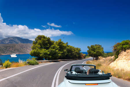 Open road to the sea on the island of Crete. Greece