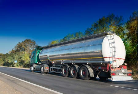 fuel and power generation: big fuel gas tanker truck on highway