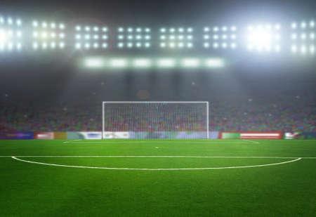 balon de futbol: En el estadio. abstractos de fútbol o fútbol fondos Foto de archivo