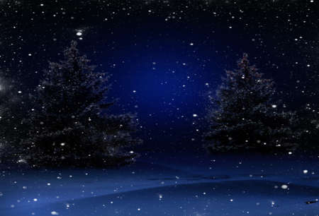 Blue Christmas background with Christmas trees
