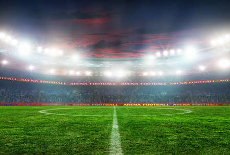 Soccer ball on the field of stadium with light Stockfoto