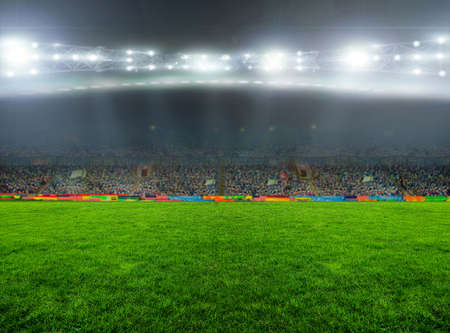 stadium crowd: On the stadium. abstract football or soccer backgrounds