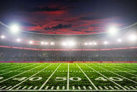 cancha de futbol: estadio de fútbol antes del partido. iluminación nocturna