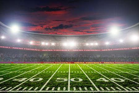 Fußballstadion vor dem Spiel. Nachtbeleuchtung