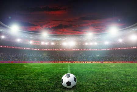 campeonato de futbol: estadio de f�tbol antes del partido. iluminaci�n nocturna