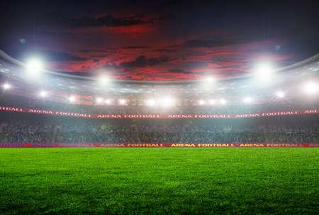 Estadio de fútbol antes del partido. iluminación nocturna Foto de archivo - 49992368
