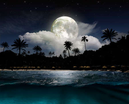 horizons: Magical evening on the ocean and the moon