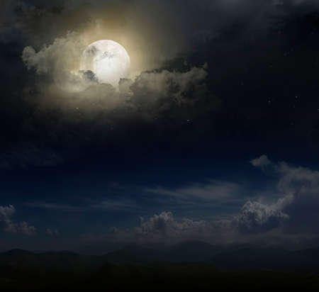 blue ridge mountains: Moon over mountain peaks