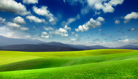 lawns: Green meadow and mountains on the horizon Stock Photo